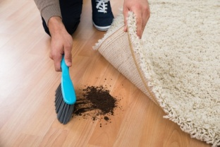 Man Using Brush To Sweep Mud On Hardwood Floor